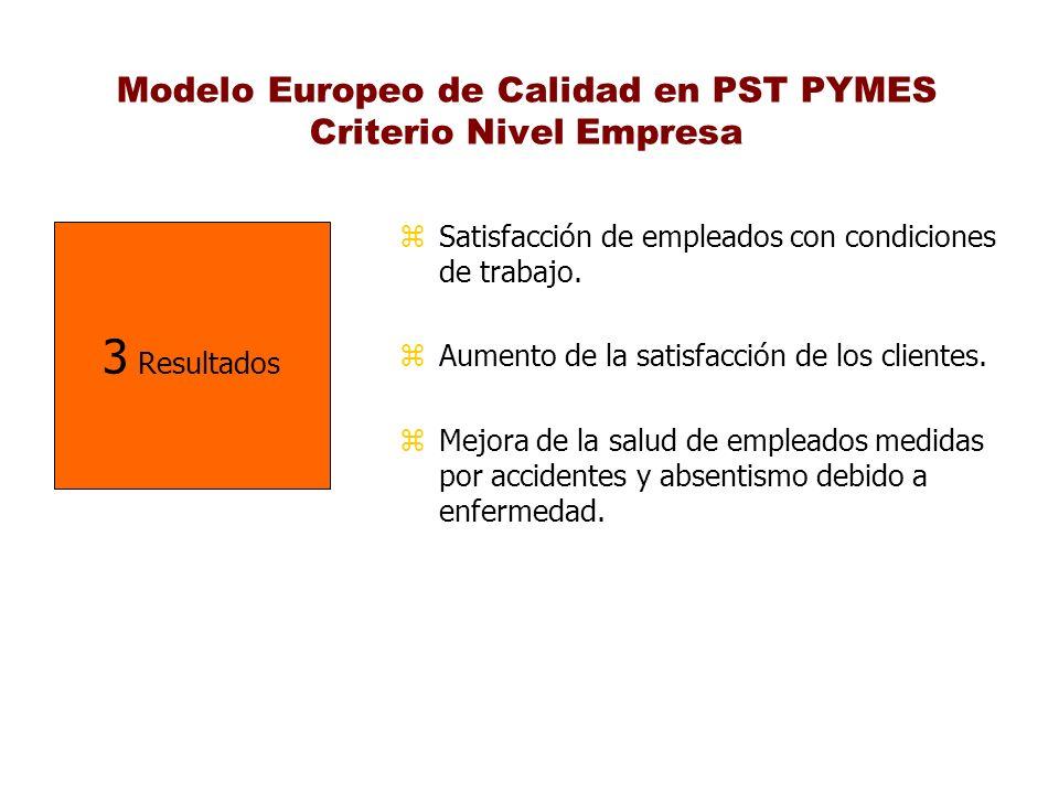 Modelo Europeo de Calidad en PST PYMES Criterio Nivel Empresa z Satisfacción de empleados con condiciones de trabajo. z Aumento de la satisfacción de