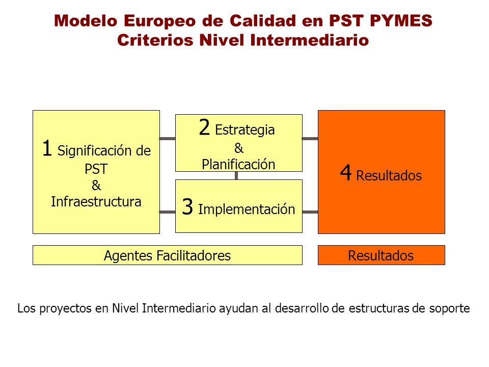 Modelo Europeo de Calidad en PST PYMES Criterios Nivel Intermediario 1 Significación de PST & Infraestructura 2 Estrategia & Planificación 4 Resultado