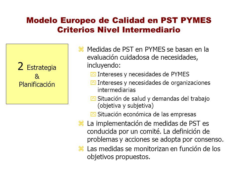 Modelo Europeo de Calidad en PST PYMES Criterios Nivel Intermediario 2 Estrategia & Planificación z Medidas de PST en PYMES se basan en la evaluación