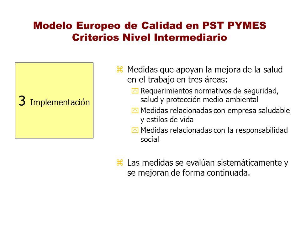 Modelo Europeo de Calidad en PST PYMES Criterios Nivel Intermediario 3 Implementación z Medidas que apoyan la mejora de la salud en el trabajo en tres