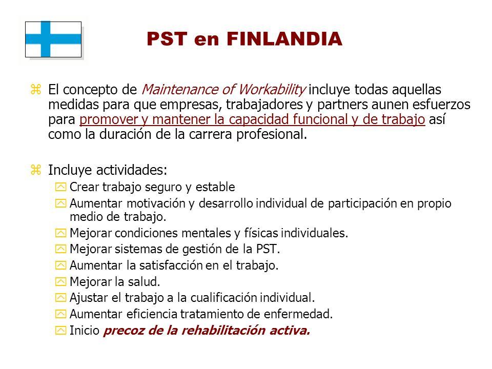 PST en FINLANDIA zEl concepto de Maintenance of Workability incluye todas aquellas medidas para que empresas, trabajadores y partners aunen esfuerzos