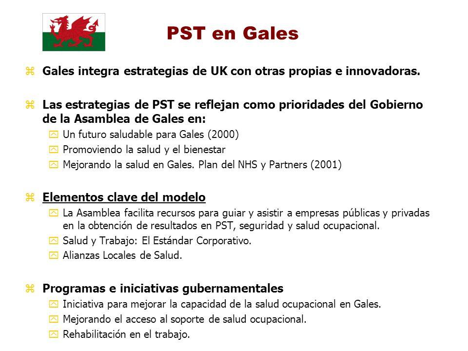 PST en Gales zGales integra estrategias de UK con otras propias e innovadoras. zLas estrategias de PST se reflejan como prioridades del Gobierno de la