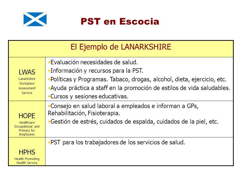 PST en Escocia El Ejemplo de LANARKSHIRE LWAS Lanarkshire Workplace Assessment Service Evaluación necesidades de salud. Información y recursos para la