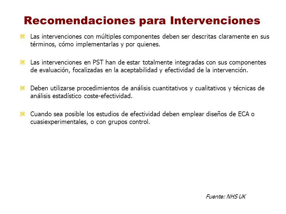 Recomendaciones para Intervenciones zLas intervenciones con múltiples componentes deben ser descritas claramente en sus términos, cómo implementarlas