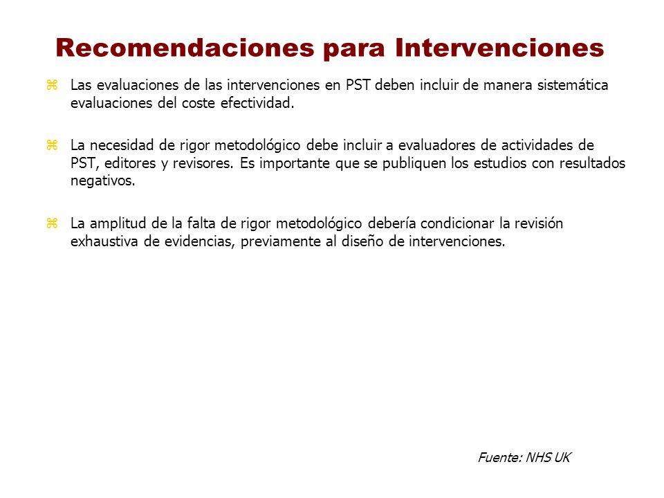 Recomendaciones para Intervenciones zLas evaluaciones de las intervenciones en PST deben incluir de manera sistemática evaluaciones del coste efectivi