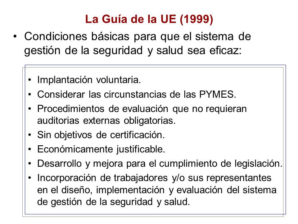 La Guía de la UE (1999) Condiciones básicas para que el sistema de gestión de la seguridad y salud sea eficaz: Implantación voluntaria. Considerar las