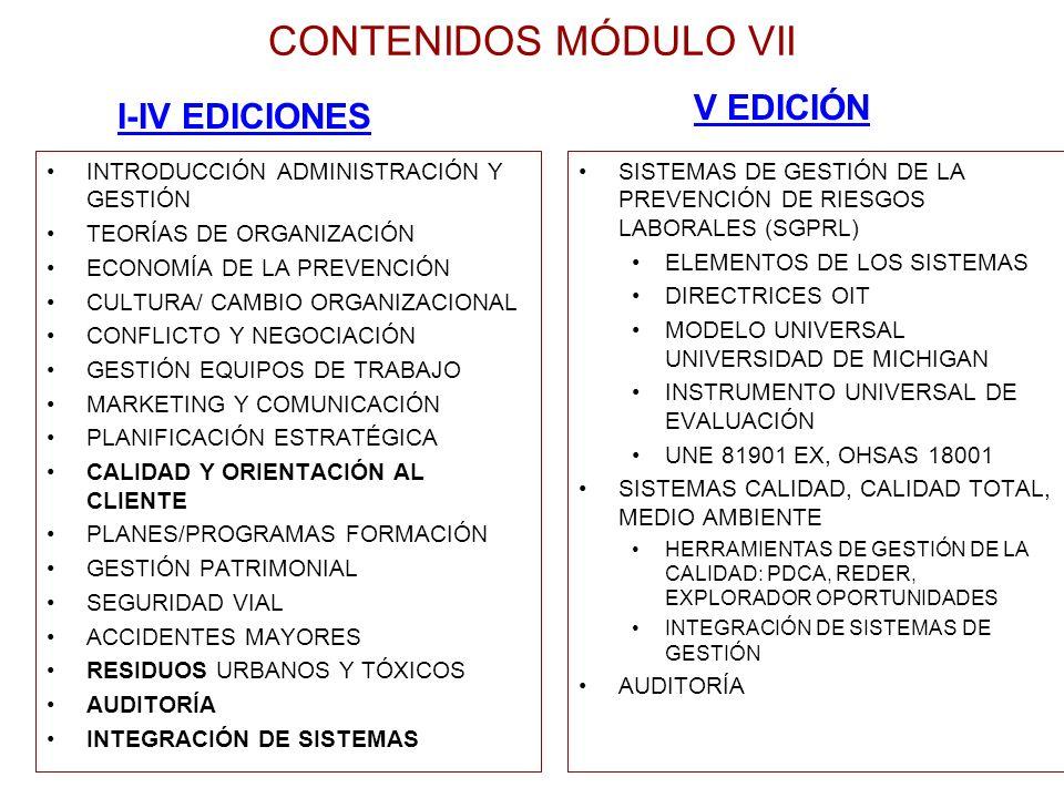 CONTENIDOS MÓDULO VII INTRODUCCIÓN ADMINISTRACIÓN Y GESTIÓN TEORÍAS DE ORGANIZACIÓN ECONOMÍA DE LA PREVENCIÓN CULTURA/ CAMBIO ORGANIZACIONAL CONFLICTO