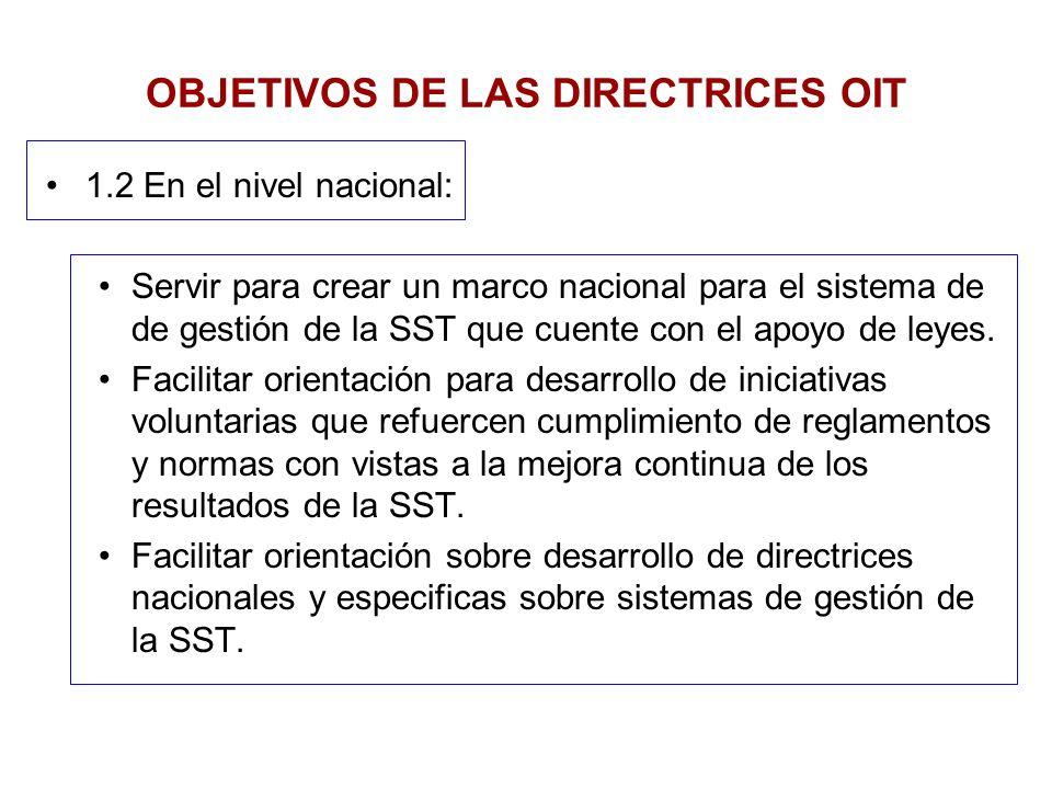 1.2 En el nivel nacional: Servir para crear un marco nacional para el sistema de de gestión de la SST que cuente con el apoyo de leyes. Facilitar orie