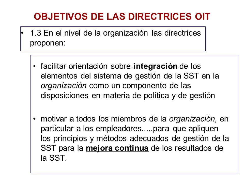 1.3 En el nivel de la organización las directrices proponen: facilitar orientación sobre integración de los elementos del sistema de gestión de la SST