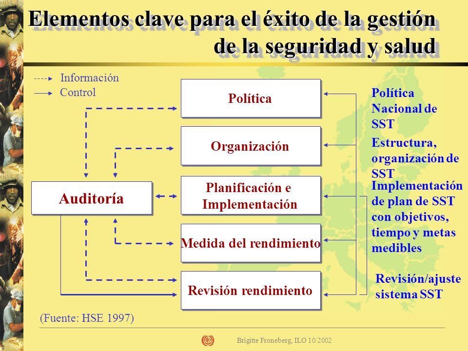 Brigitte Froneberg, ILO 10/2002 Política Organización Auditoría Planificación e Implementación Medida del rendimiento Revisión rendimiento (Fuente: HS