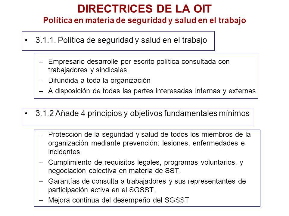 DIRECTRICES DE LA OIT Política en materia de seguridad y salud en el trabajo 3.1.1. Política de seguridad y salud en el trabajo –Empresario desarrolle