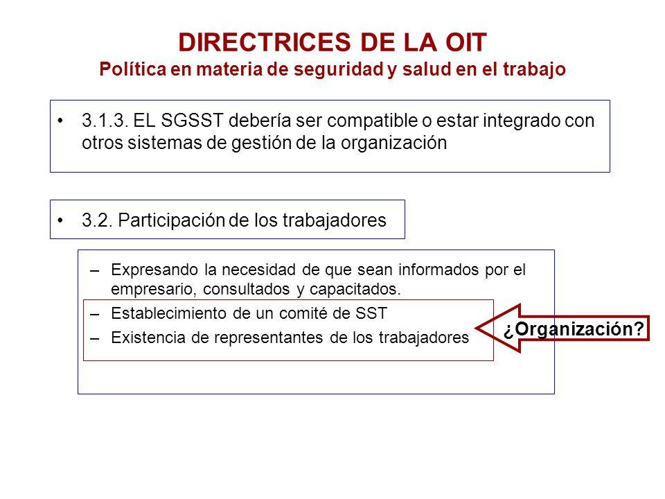 DIRECTRICES DE LA OIT Política en materia de seguridad y salud en el trabajo 3.1.3. EL SGSST debería ser compatible o estar integrado con otros sistem