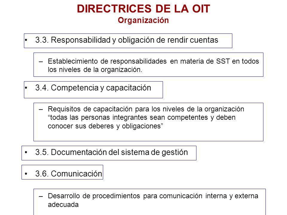 DIRECTRICES DE LA OIT Organización 3.3. Responsabilidad y obligación de rendir cuentas –Establecimiento de responsabilidades en materia de SST en todo