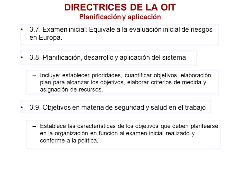 DIRECTRICES DE LA OIT Planificación y aplicación 3.7. Examen inicial: Equivale a la evaluación inicial de riesgos en Europa. 3.8. Planificación, desar
