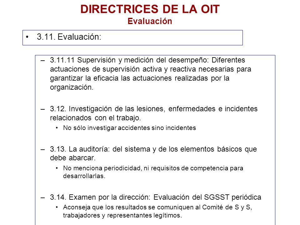 DIRECTRICES DE LA OIT Evaluación 3.11. Evaluación: –3.11.11 Supervisión y medición del desempeño: Diferentes actuaciones de supervisión activa y react