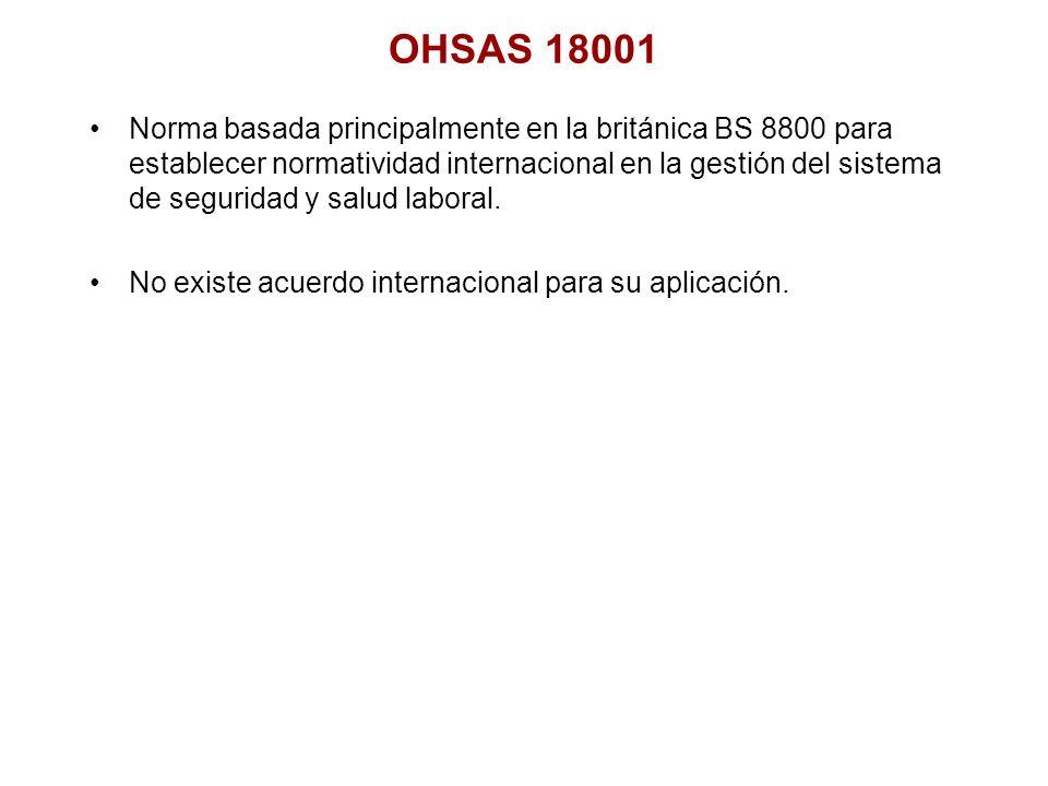 OHSAS 18001 Norma basada principalmente en la británica BS 8800 para establecer normatividad internacional en la gestión del sistema de seguridad y sa