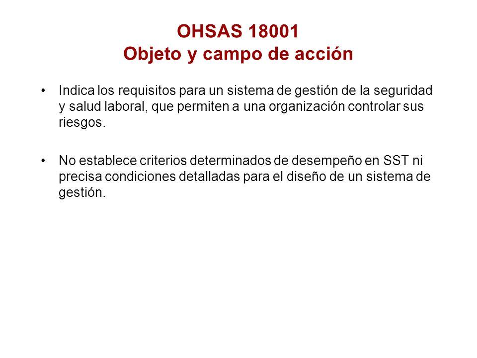 OHSAS 18001 Objeto y campo de acción Indica los requisitos para un sistema de gestión de la seguridad y salud laboral, que permiten a una organización