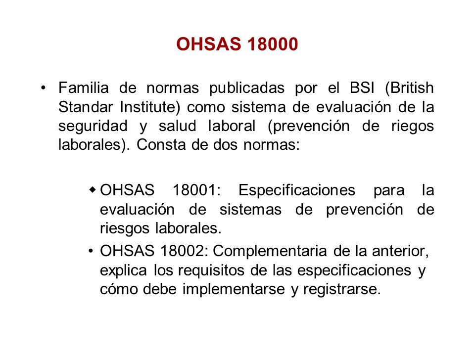 Familia de normas publicadas por el BSI (British Standar Institute) como sistema de evaluación de la seguridad y salud laboral (prevención de riegos l