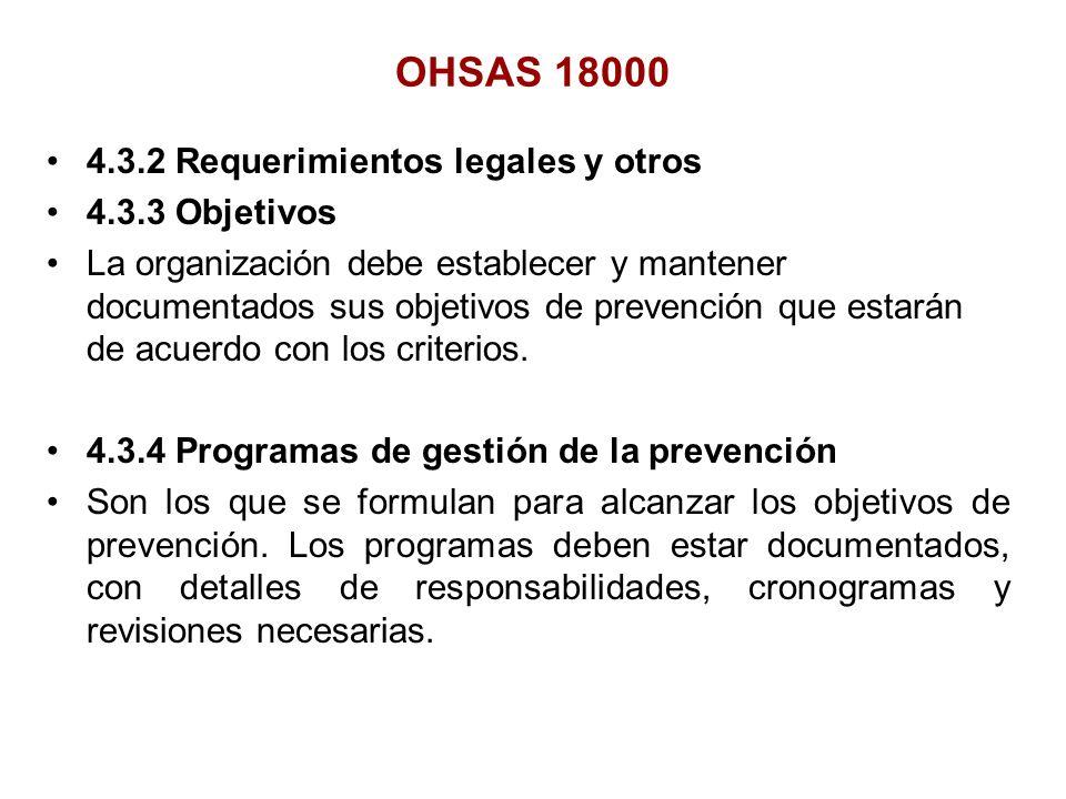4.3.2 Requerimientos legales y otros 4.3.3 Objetivos La organización debe establecer y mantener documentados sus objetivos de prevención que estarán d