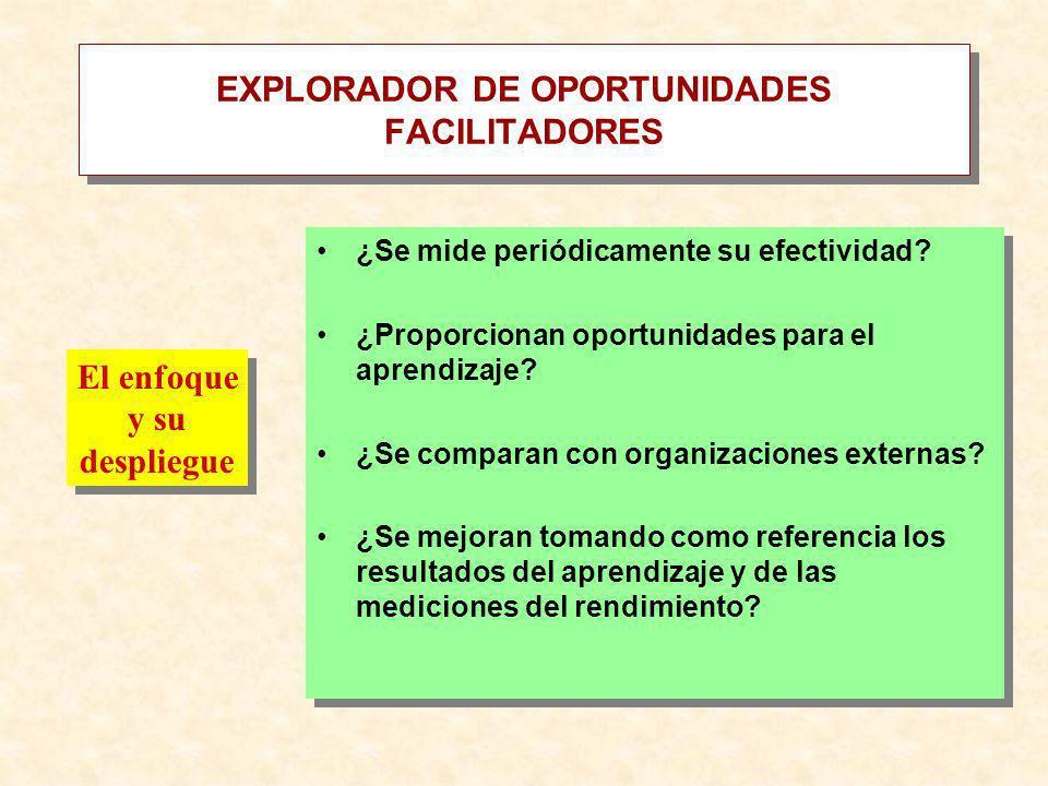 EXPLORADOR DE OPORTUNIDADES FACILITADORES ¿Se mide periódicamente su efectividad? ¿Proporcionan oportunidades para el aprendizaje? ¿Se comparan con or