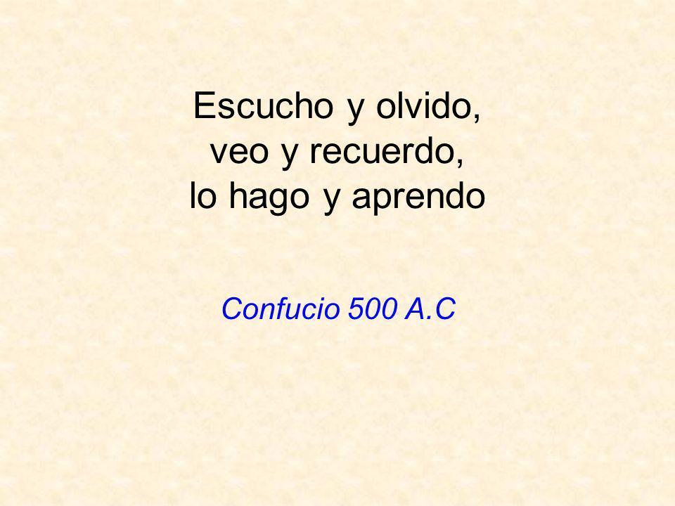 Escucho y olvido, veo y recuerdo, lo hago y aprendo Confucio 500 A.C