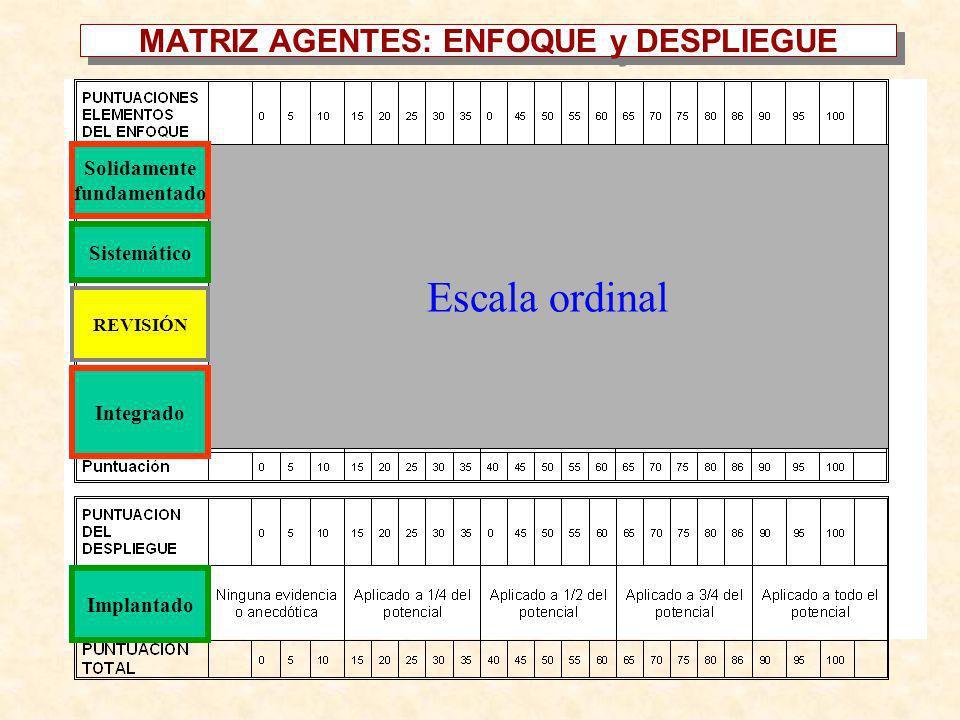MATRIZ AGENTES: ENFOQUE y DESPLIEGUE Ninguna Evidencia Alguna Evidencia Buena Evidencia Extensiva Evidencia Total Evidencia Ninguna Evidencia Alguna E