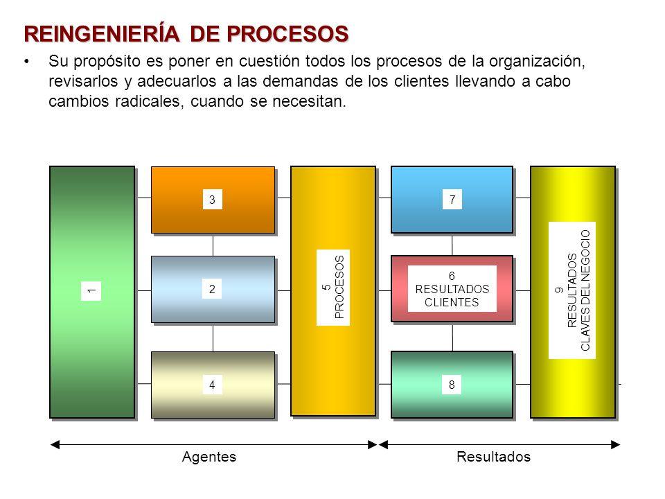 REINGENIERÍA DE PROCESOS Su propósito es poner en cuestión todos los procesos de la organización, revisarlos y adecuarlos a las demandas de los client