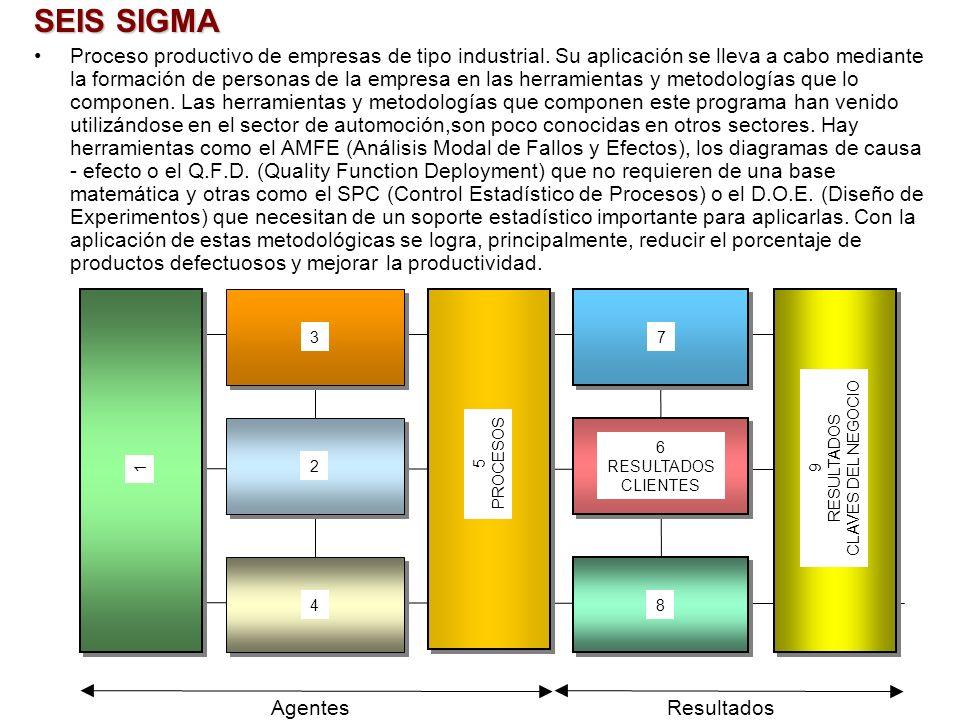 SEIS SIGMA Proceso productivo de empresas de tipo industrial. Su aplicación se lleva a cabo mediante la formación de personas de la empresa en las her