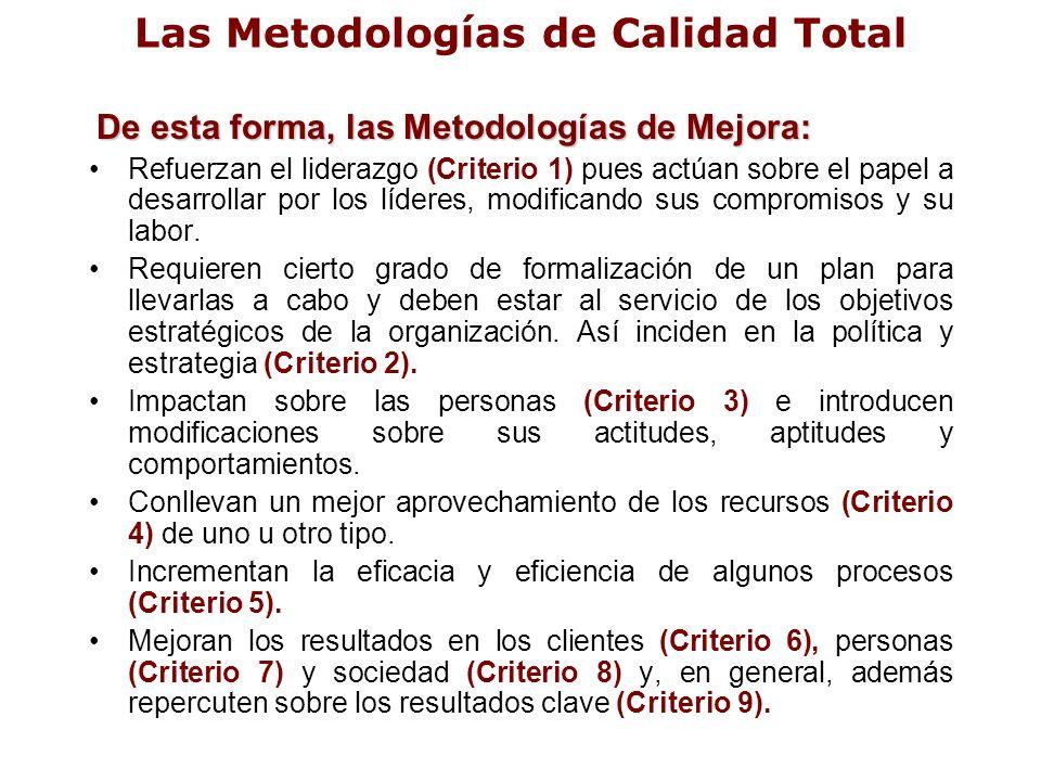 Las Metodologías de Calidad Total De esta forma, las Metodologías de Mejora: Refuerzan el liderazgo (Criterio 1) pues actúan sobre el papel a desarrol