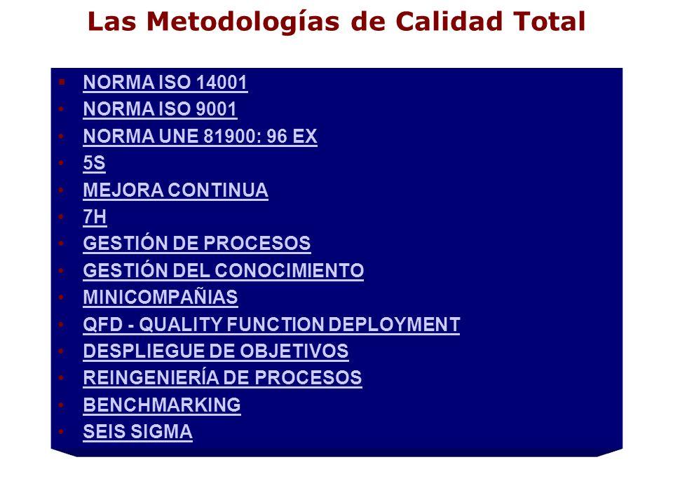 Las Metodologías de Calidad Total NORMA ISO 14001 NORMA ISO 9001 NORMA UNE 81900: 96 EX 5S MEJORA CONTINUA 7H GESTIÓN DE PROCESOS GESTIÓN DEL CONOCIMI