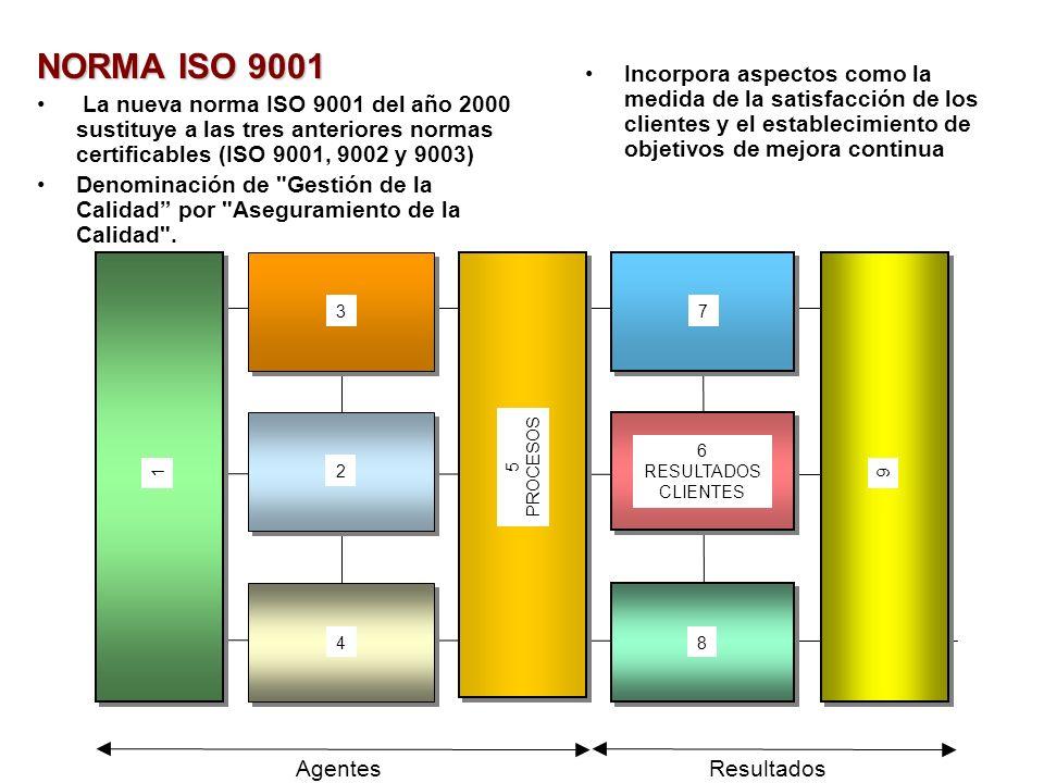 NORMA ISO 9001 La nueva norma ISO 9001 del año 2000 sustituye a las tres anteriores normas certificables (ISO 9001, 9002 y 9003) Denominación de