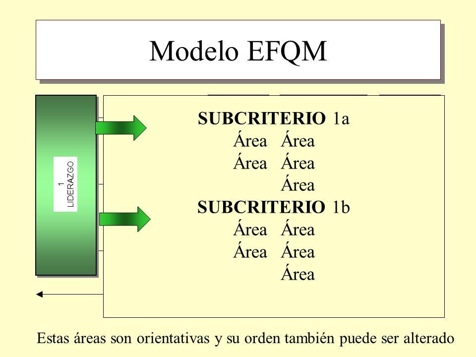 Modelo EFQM AgentesResultados 1 LIDERAZGO 3 PERSONAS 2 POLÍTICA ESTRATEGIA 4 ALIANZAS Y RECURSOS 7 RESULTADOS PERSONAS 6 RESULTADOS CLIENTES 8 RESULTA