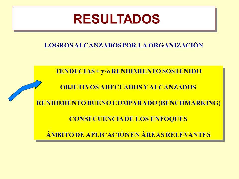 TENDECIAS + y/o RENDIMIENTO SOSTENIDO OBJETIVOS ADECUADOS Y ALCANZADOS RENDIMIENTO BUENO COMPARADO (BENCHMARKING) CONSECUENCIA DE LOS ENFOQUES ÁMBITO