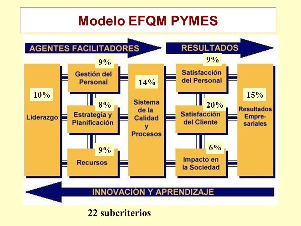 10% 9% 8% 9% 14% 20% 6% 15% 22 subcriterios Modelo EFQM PYMES