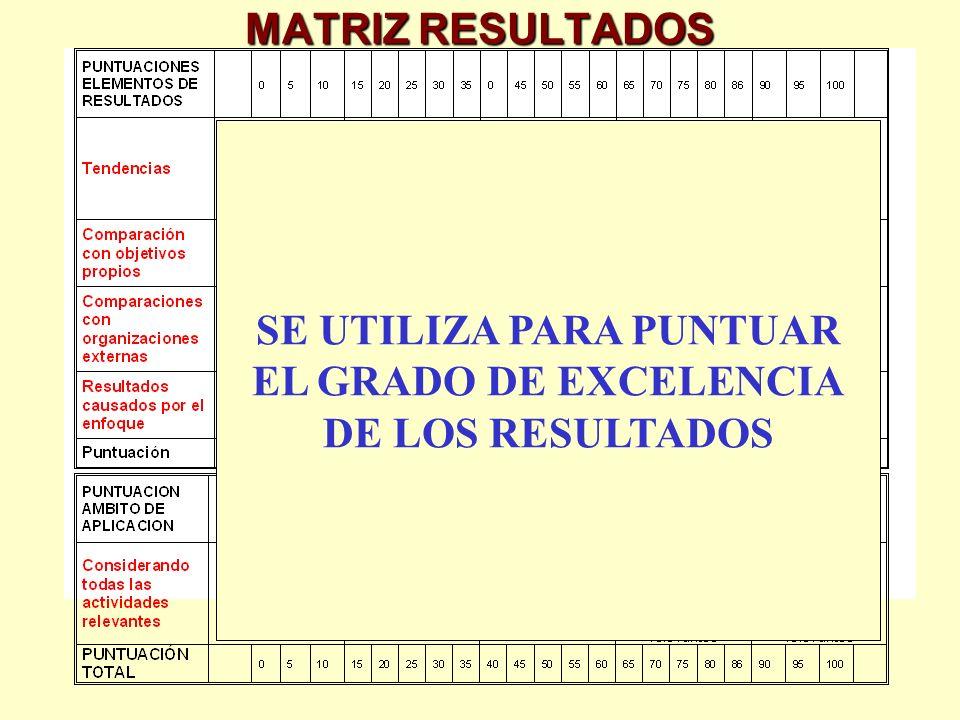 MATRIZ RESULTADOS SE UTILIZA PARA PUNTUAR EL GRADO DE EXCELENCIA DE LOS RESULTADOS