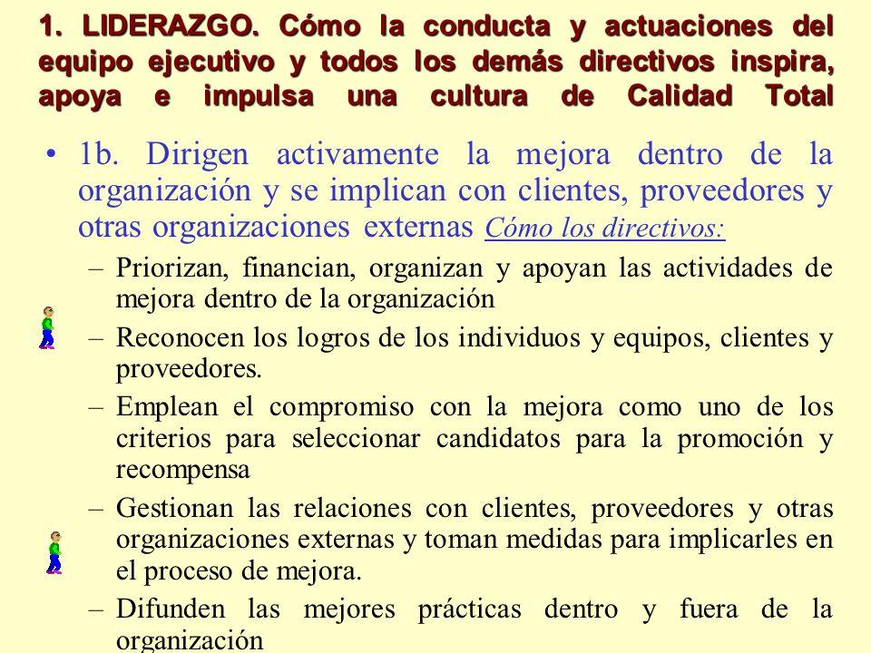 1. LIDERAZGO. Cómo la conducta y actuaciones del equipo ejecutivo y todos los demás directivos inspira, apoya e impulsa una cultura de Calidad Total 1