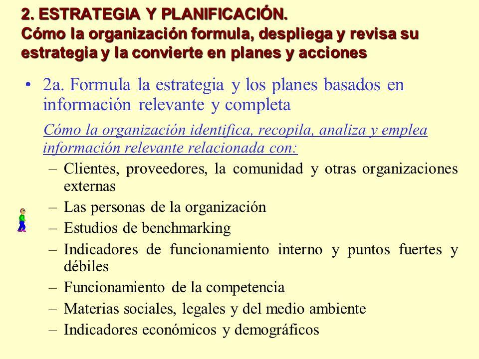 2. ESTRATEGIA Y PLANIFICACIÓN. Cómo la organización formula, despliega y revisa su estrategia y la convierte en planes y acciones 2a. Formula la estra