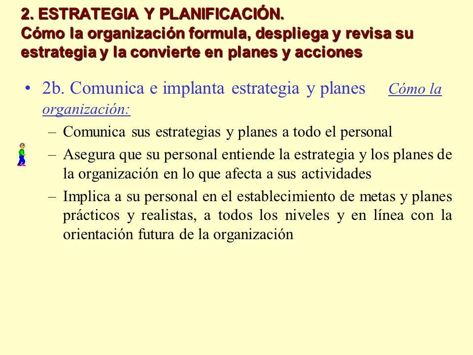 2. ESTRATEGIA Y PLANIFICACIÓN. Cómo la organización formula, despliega y revisa su estrategia y la convierte en planes y acciones 2b. Comunica e impla
