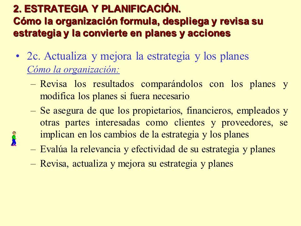 2. ESTRATEGIA Y PLANIFICACIÓN. Cómo la organización formula, despliega y revisa su estrategia y la convierte en planes y acciones 2c. Actualiza y mejo
