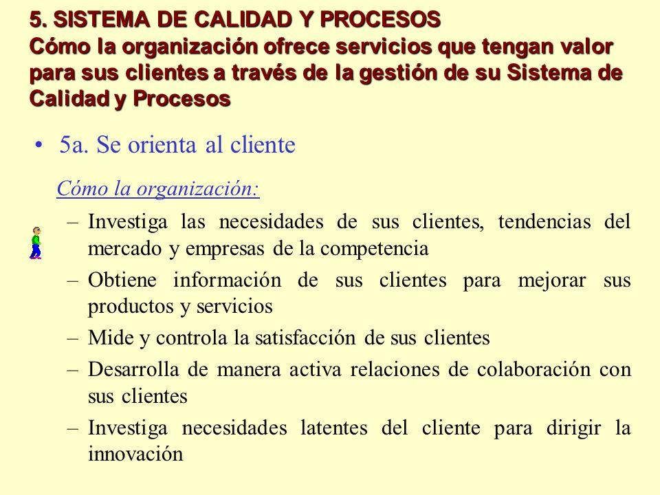 5. SISTEMA DE CALIDAD Y PROCESOS Cómo la organización ofrece servicios que tengan valor para sus clientes a través de la gestión de su Sistema de Cali
