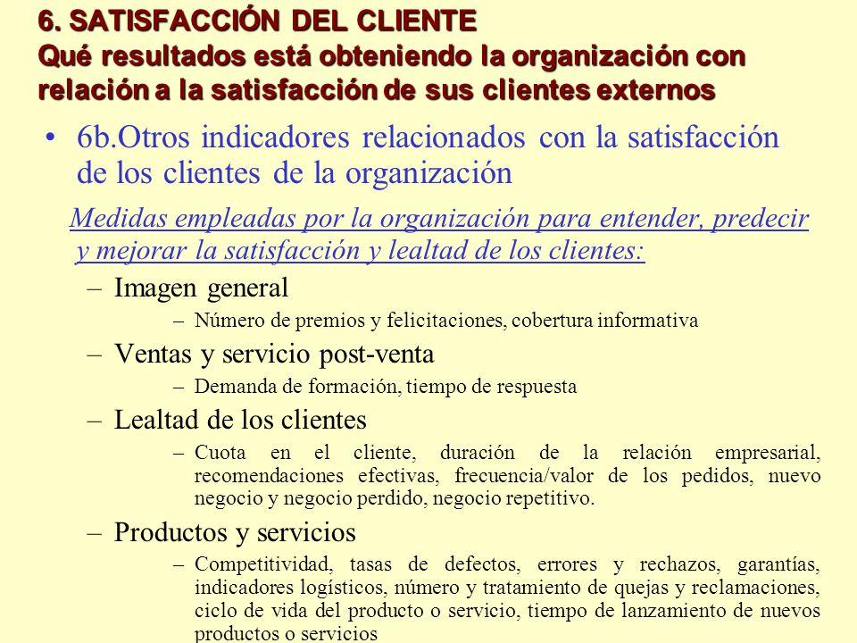 6. SATISFACCIÓN DEL CLIENTE Qué resultados está obteniendo la organización con relación a la satisfacción de sus clientes externos 6b.Otros indicadore