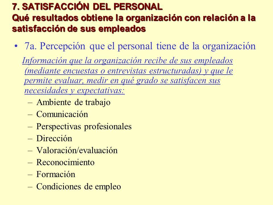 7. SATISFACCIÓN DEL PERSONAL Qué resultados obtiene la organización con relación a la satisfacción de sus empleados 7a. Percepción que el personal tie