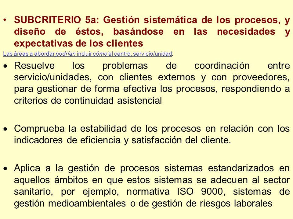 SUBCRITERIO 5a: Gestión sistemática de los procesos, y diseño de éstos, basándose en las necesidades y expectativas de los clientes Las áreas a aborda
