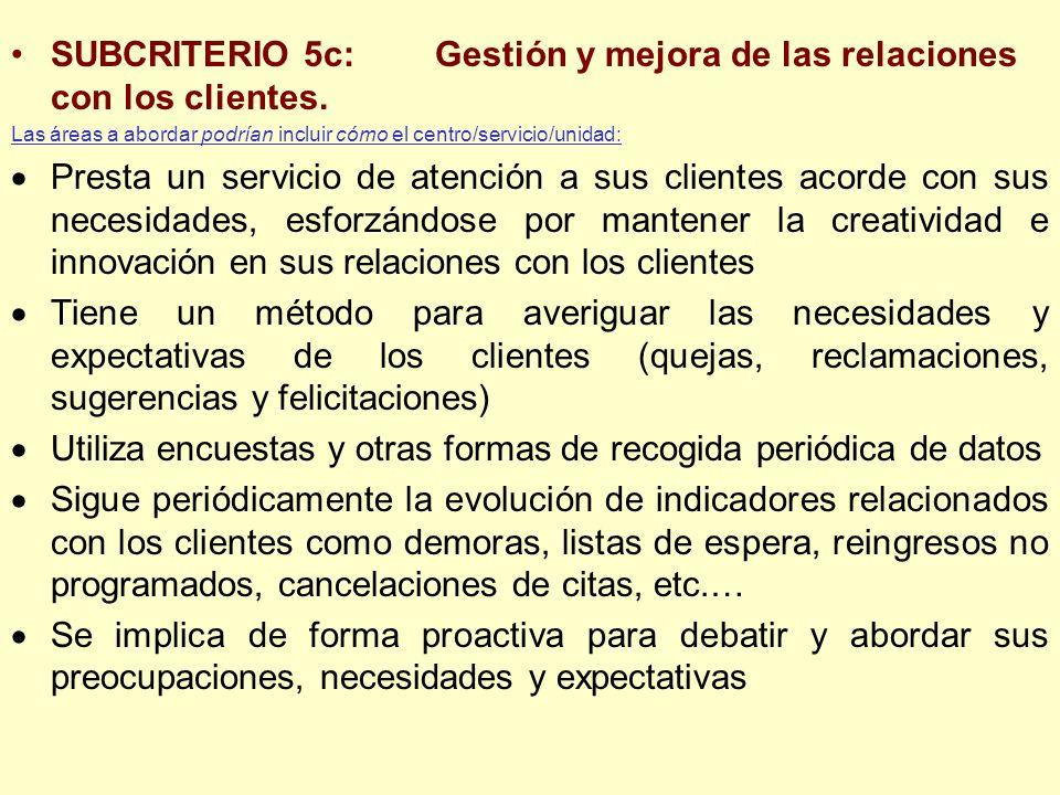 SUBCRITERIO 5c:Gestión y mejora de las relaciones con los clientes. Las áreas a abordar podrían incluir cómo el centro/servicio/unidad: Presta un serv
