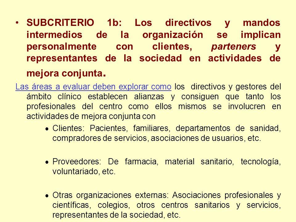 SUBCRITERIO 1b: Los directivos y mandos intermedios de la organización se implican personalmente con clientes, parteners y representantes de la socied