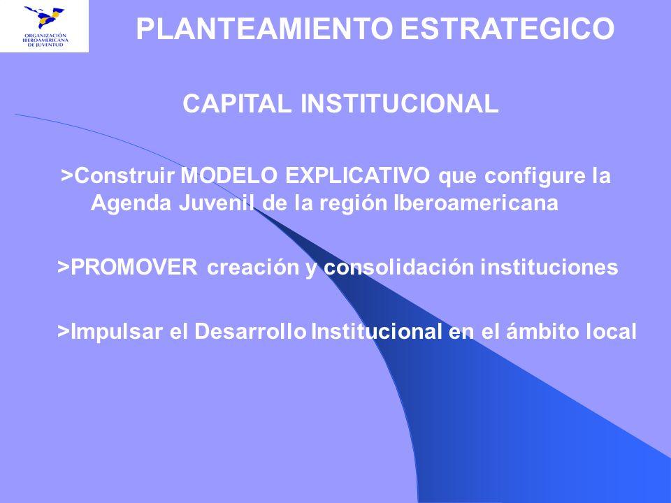 CAPITAL INSTITUCIONAL >Construir MODELO EXPLICATIVO que configure la Agenda Juvenil de la región Iberoamericana >PROMOVER creación y consolidación ins