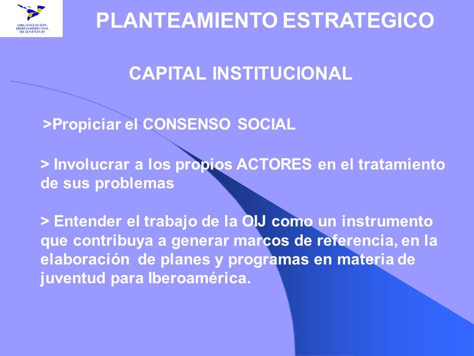 CAPITAL INSTITUCIONAL >Propiciar el CONSENSO SOCIAL > Involucrar a los propios ACTORES en el tratamiento de sus problemas > Entender el trabajo de la