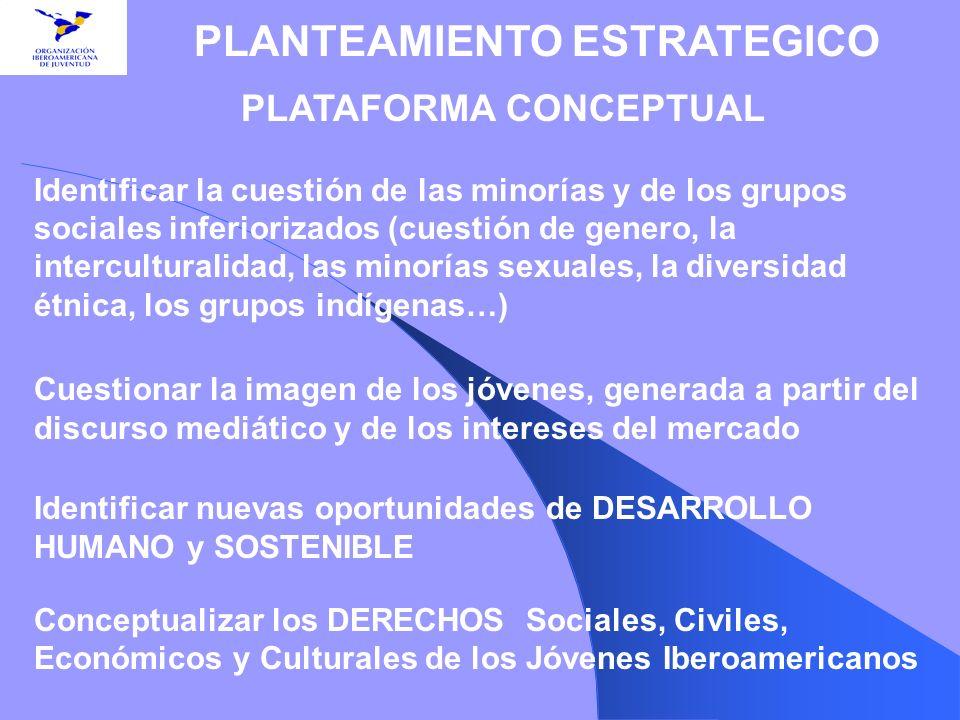 PLATAFORMA CONCEPTUAL Identificar la cuestión de las minorías y de los grupos sociales inferiorizados (cuestión de genero, la interculturalidad, las m