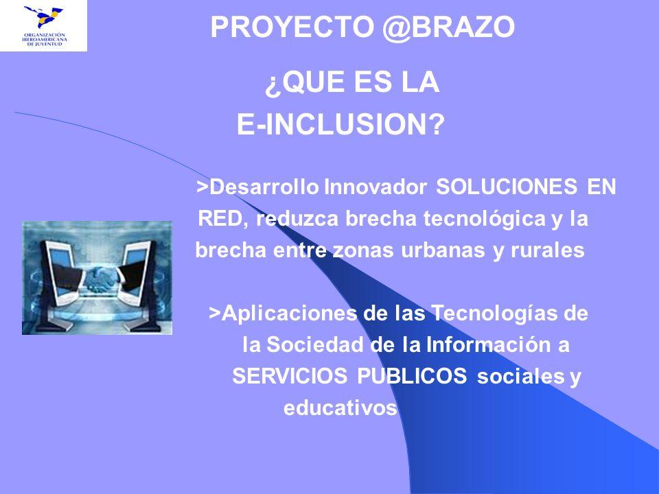 ¿QUE ES LA E-INCLUSION? >Desarrollo Innovador SOLUCIONES EN RED, reduzca brecha tecnológica y la brecha entre zonas urbanas y rurales >Aplicaciones de