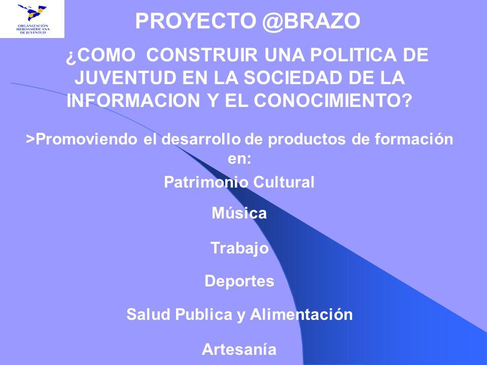 ¿COMO CONSTRUIR UNA POLITICA DE JUVENTUD EN LA SOCIEDAD DE LA INFORMACION Y EL CONOCIMIENTO? >Promoviendo el desarrollo de productos de formación en: